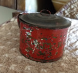 Antique Child Tin Cup Red Painted Stencil Gold My Boy Toleware Primitive