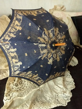 Children Parasol Seashore Scene Blue Cotton Fabric Victorian Antique