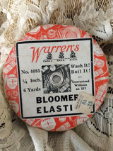 Antique Warrens Bloomer Elastic Sewing Notion Advertising Bolt Spool Roll