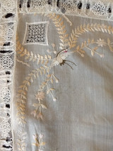 Antique Silk Asian Handkerchief Pillow Top Embroidery Lace Drawn Thread
