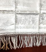 Antique Victorian Damask Towel Fringe Poppy Flower White Linen Unused