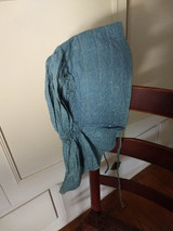 Antique Check Sunbonnet Cadet Blue Fabric Homespun Lining Chin Ties
