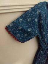 Farmhouse Country Blue Calico Doll Dress Red Trim 1900's Primitive Textile