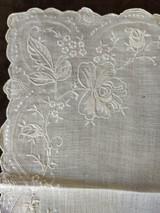 Vintage Madeira Embroidered Hankie Handkerchief  White Rose Flower Border