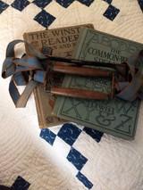 Antique Children School Book Carrier Handle Woven Straps 1880 Victorian