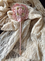 Mohair Ribbon Rosette Art  Powder Puff Wand Flapper  Roaring 1920's