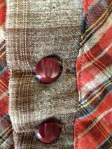 1880 Child Wool Dress Brown Plaid Red Trim Antique Children Clothing