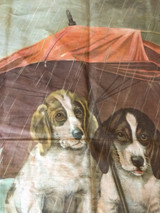 Antique Victorian Lithograph Pillow Top Fabric Two Dogs Rainy Day