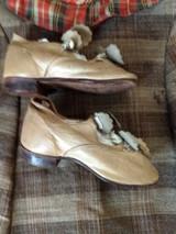 Victorian Child Tan Leather Shoes Button Strap Decorative Embellishment