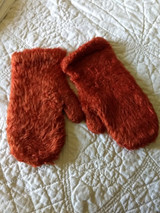 Woman Antique Mohair Red Fuzzy Knitted Mittens Edwardian 1920