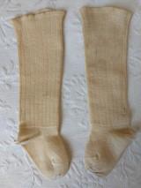 Antique 1900 Baby Children Stockings Cream Ribbed Wool Silk Rayon Toe Heel