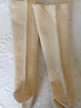 Antique 1900 Baby Children Stockings Cream Ribbed Wool Silk Rayon Toe Heel