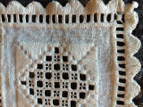 Vintage Hardanger Embroidery Coaster Small Table Doily