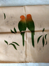 Tinted Stencil 1930s Pair Parrots Pillow Cover To Embroidery Tropical Scene