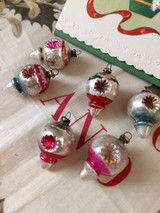 6 Vintage 1920 Ornaments Mercury Indent Glass Feather Christmas Tree Decoration