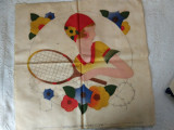 Sports Tennis Player Pillow Cover Vintage 1930's Tinted Stencil To Embroidery