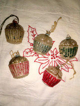 5 Antique Glass Flower Basket Christmas Ornament Vintage 1920