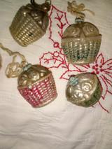 5 Antique Glass Flower Basket Christmas Ornament Vintage 1920