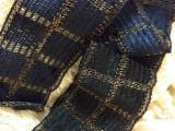 1920s Woven Dress Trim Silver Metallic Navy Thread Block Design