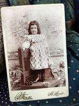 Victorian Photo Cabinet Card Girl Kate Greenaway Fabric Dress 1890 Child