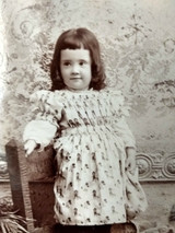 Victorian Photo Cabinet Card Girl Kate Greenaway Fabric Dress 1890 Child