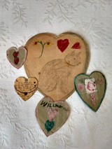 5 Vintage Valentines Home Made Cat Hand Made Hearts 1930 Lot