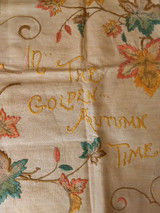 Antique Silk Embroidery Pillow Cover Autumn Motto Saying Stitchery