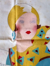 1930s Pillow Cover  Woman Auto  Embroidery To Finish Stencil Tinted Vintage