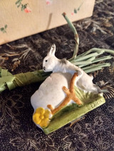 German Bisque Easter Rabbit Egg Vintage Early 1900s Miniature