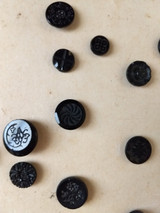 Victorian Black Glass Buttons On Collector Card 25 Assorted