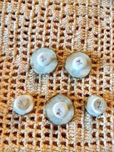 Antique Handpainted Collar Button Cuff Studs China Ceramic 5 Lot