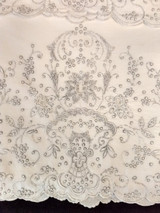 Vintage Hand Embroidery Madeira Pillowcases Drawn Cutwork Silver Embroidery