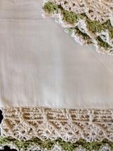 Vintage Pair Pillowcases Hand Crochet Lace Trim 1950s Unused