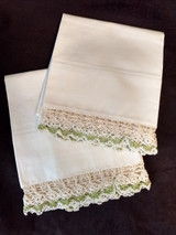 Vintage Pair Pillowcases Hand Crochet Lace Trim 1950s Unused