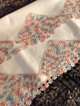 Vintage 1940s Pillowcase Bolster Bed Linens Hand Crochet Lace Insets