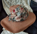 Edwardian WW 1 Straw Hat Wide Brim Fabric Flowers Embellishment