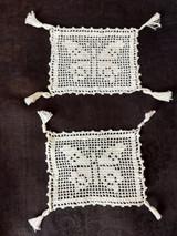 Vintage 1900 Crochet Butterfly Doily  Tidy Vanity Dresser Scarf Tassel Corners