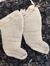 Vintage Hand Knitted Baby Leggings Stockings Socks Ribbon Tie 1920s