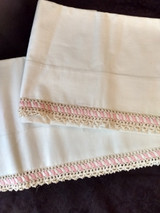 Vintage Pair Pillowcases  Crochet and Rick Rack Trim 1950s Unused