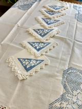 Napkins Luncheon Tablecloth Cross Stitch 1940 Vintage Flower Basket Embroidery