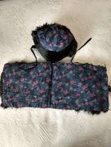 Vintage Fur Doll Cape Hat 1920 Shawl Silk Flower Fabric Lining Home Sewn