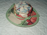 Cute vintage 1950s  Handmade  Floral Fabric Hat Pincushion