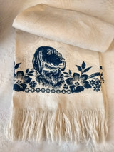 Antique Damask Towel Indigo Hunting Dog Motif Victorian Edwardian