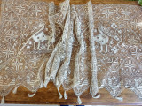 Vintage Italian Knotted Darn Net Needle Lace Portiere Curtain Panel