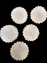6 Society Silk Embroidery Table Coaster Doily Round Victorian 1900