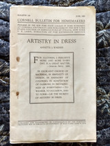 1926 Cornell Bulletin Artistry In Dress  For The Homemaker