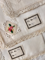 3 Vintage Handkerchief Hankie Petit Point Needlework Lace Label France