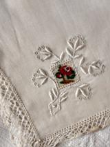 3 Vintage Handkerchief Hankie Petit Point Needlework Lace Label France