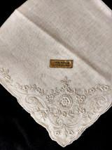 Vintage Hand Embroidery Handkerchief Hankie Original Tag White  1950