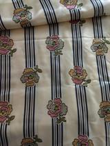 Antique Silk Fabric Yardage 1900 Floral Stripe Belding Satin Material